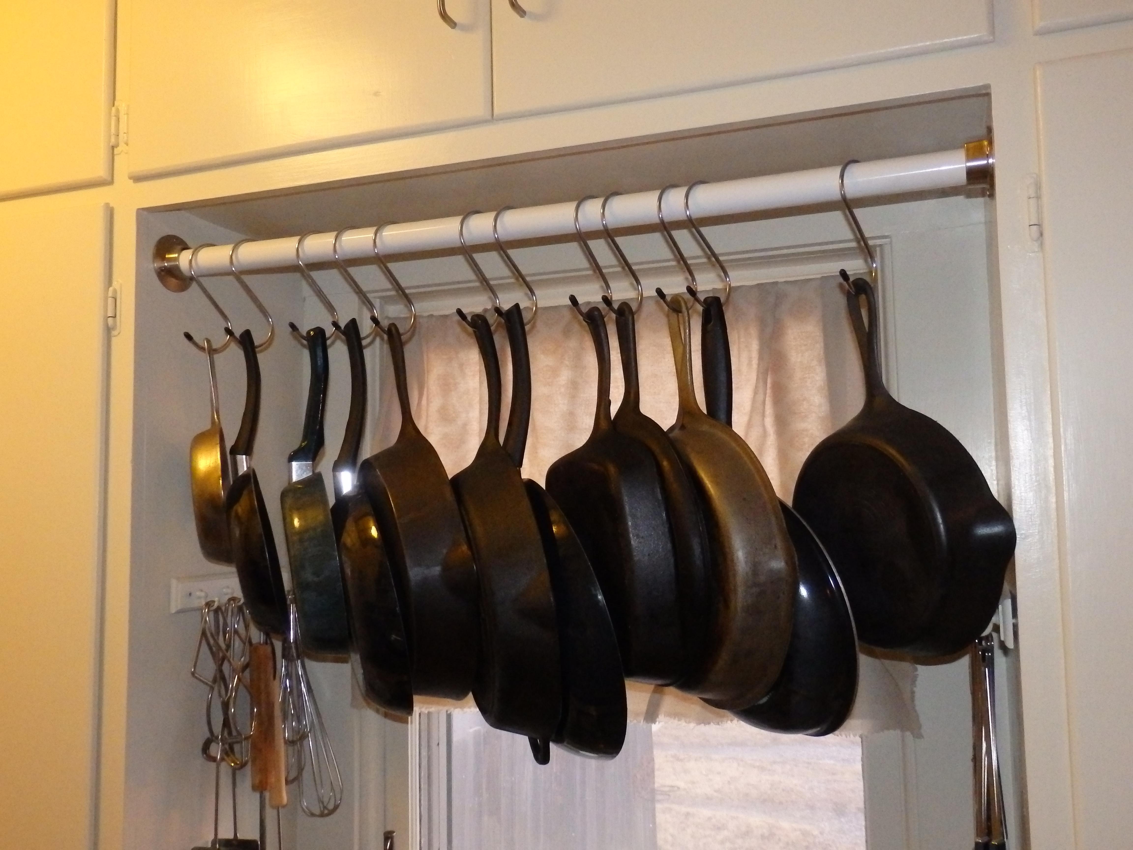 diy closet rod. Kitchen Skillet Rack Diy Closet Rod